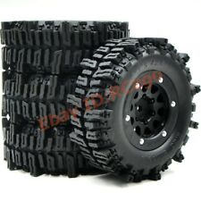 4pc RC 1.9 Mud Slingers Crawler Tire 93mm W/ 1.9'' Beadlock Rim For RC 4WD Axial