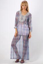 NEW WOMEN BOHO TRIBAL KAFTAN SHEER EMBELLISHED  BLUE MAXI DRESS SIZE UK S EU8/10