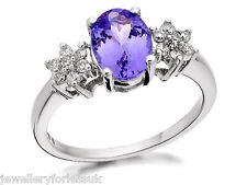 18Carat White Gold Oval Tanzanite & Diamond Cluster Ring 1.15 carats