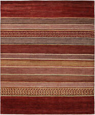 8X10 Hand-Knotted Gabbeh Carpet Tribal Red Fine Wool Area Rug D33827