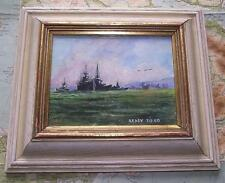 Royal Navy Fleet Southampton A : Original Impressionist Oil Painting Carlos Geri