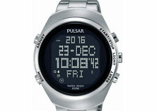 Pulsar Herrenuhr Chronograph Digital Alarm Edelstahl 10bar  PQ2055X1