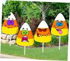 Halloween Decorations Outdoor, 4PCS Yard Signs with Stakes, Cute Candy Corn