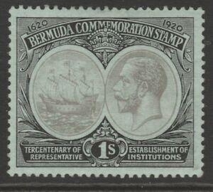 Bermuda MINT 1920 Tercentenary 1/- black on blue-green sg64