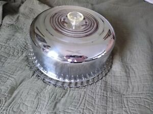 1950's chrome and glass, cake plate and cover, clear plastic knob