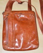 PIQUARDO Leather Crossbody Travel Bag Orange Brown HARD USED