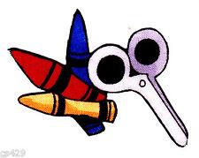 "2.5""  Loralie roll call teacher school crayon scissors fabric applique iron on"