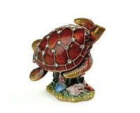 Pewter Small Turtle Reef Figure Matching Necklace Inside Pendant Charm Trinket