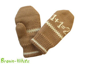 Mittens 100% MERINO WOOL baby children boy girl double knitted knit arm warmers