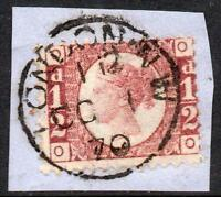 1870 ½d Rose Red plate 1 used on first day of issue, Very RARE