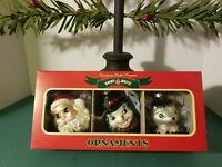 "3 Radko SHINY BRITE Christmas Glass Ornament Set Santa Reindeer Snowman Deer 3"""