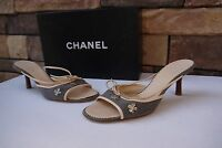 vintage CHANEL Slides Sandals with SHAMROCK Chanel Logo SZ US 6.5-7 / IT 37