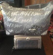 Coach Silver New York Script Lurex Metallic Bag 17472+Ashley Zip Around Wallet