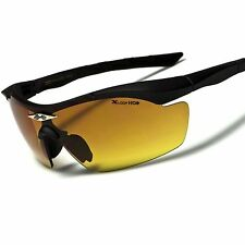 Amber Lens High Definition HD Driving Day Night Outdoor Sport Wrap Sunglasses