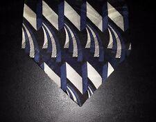Albert Nipon Tie Silk Black Blue Ivory Lt Gray Design Geometric NIB t3218