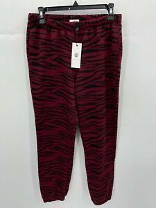 Socialite Womens Small Joggers Red Black Tiger Print Sweat Pants Loungewear