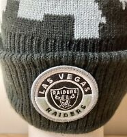 NFL Las Vegas Raiders New Era Cuffed Pom Knit Beanie Adult Hat Cap Black/Gray