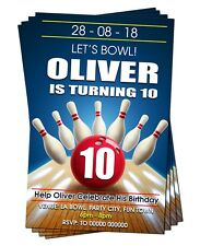 BIRTHDAY PARTY INVITATIONS Ten Pin Bowling Personalised Blue Red