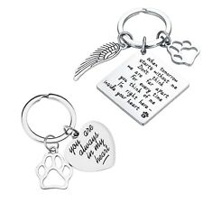 Square Dog Keychain 2pcs Pet Memorial Heart Keyring Animals Lovers Gifts