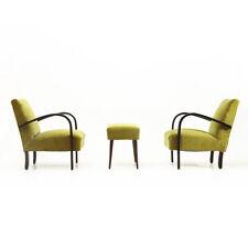 Coppia di poltrone in velluto verde con pouf anni 30, armchairs with pouf, vinta