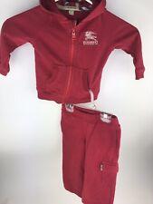 Burberry Jogging Suit Infant Kids 18 Months Zip Up Sweatshirt Sweat Pants Red