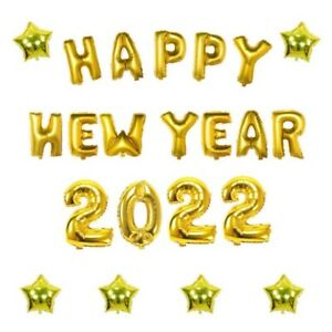 16 inch 2022 Happy New Year Eve Star Number Letter Foil Balloon Gold Party Decor