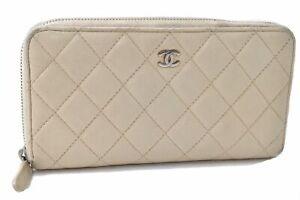 Authentic CHANEL Matelasse Caviar Skin Long Wallet Ivory White CC D3639