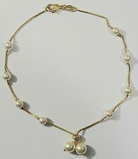Long Gold Filled # 24 Pearl Ball Ankle Bracelet 11.25 inch