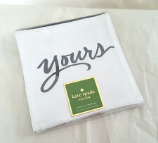 "Kate Spade ""His, Hers, Mine, Yours"" Cotton Cocktail Napkins Set of 4 NWT"