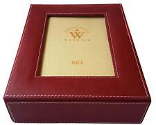 "Warwick Genuine Leather Jewelry Box 9.5x7.75x2.5"" Image Display on Lid, Red"