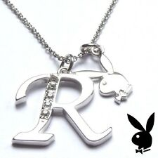 Playboy Necklace Initial Letter R Pendant Bunny Charm Crystals Platinum Plated