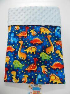 Baby Blanket Dinosaurs Blue 80cm x 60cm  Minkee Dot Back Handmade