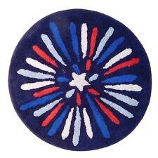 "Celebrate Americana Red White Blue Accent Cotton Bath Rug Usa Bath Mat 24"" Round"