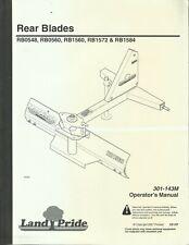 Land Pride Rear Blades Rb0548 Rb0560 Rb1560 Rb1572 Rb1584 Operators Manual