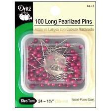 """Dritz Long Pearlized Pins, Size 24 - 1-1/2""""(38mm) Fuchsia Ball Head Pins- 100 PK"""