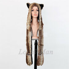 Full Hood Hoodie Hat Mittens Scarf Glove Button 3 IN 1 Function Brown Wolf USA