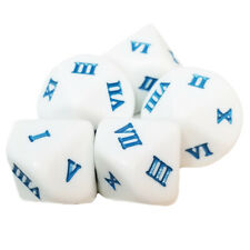 Set of 5 - 10 Sided Roman Numbers Dice 1 to 10 White & Blue in Snow Organza Bag