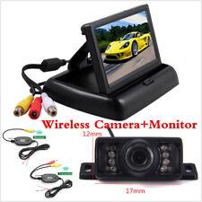 """Car Wireless Camera Rear View Night Vision Backup +4.3"""" TFT LCD Foldable Monitor"""