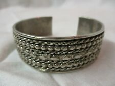 Silver plated Cuff Bracelet braided Ropes (H)