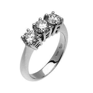 Anello Trilogy oro bianco 18 kt e diamanti carati 0,45 - super sconto NATALE