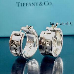 Tiffany & Co 1837 Huggie Earrings Hoop Love Sterling Silver Gift w/ Box   21920M