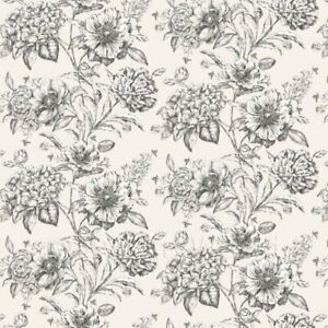 Dolls House Miniature Black And White Mixed Flowers on White Wallpaper