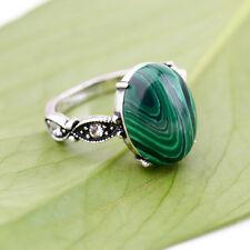 New Fashion Charm Women Antique Silver Plated Retro Green Malachite Ring Jewelry