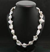 Silberweißes Süßwasserzuchtperlen-Collier 21 x 14 mm 925-Silber Wert 1100 €