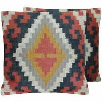 """Handmade Indo Wool and Jute Kilim Pillow, Set of 2 (India) - Charcoal 20"""" x 20"""""""