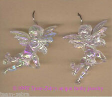 Funky CUPID CHERUB FLUTE EARRINGS-Baby Angel Musician Charms Jewelry-IRIDESCENT