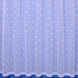 Dot Contemporary Net Curtain - Finished In White - Preset Sizes - FREE DELIVERY