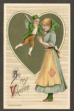 WINSCH POSTCARD:  BE MY VALENTINE - FLYING LEPRECHAUN - Unsigned SCHMUCKER, 1910