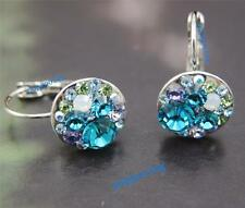 women 18K white Gold GP blue  Crystal stone zircon Crystals mickey Earrings