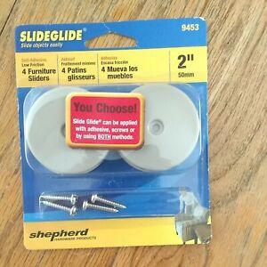 Shepherd 9453 2-Inch Round, Adhesive Slide Glide Furniture Sliders, 4-Pack